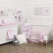NoJo Dreamer Watercolor Floral 8 Piece Nursery Crib Bedding Set, Rose/Pink/White