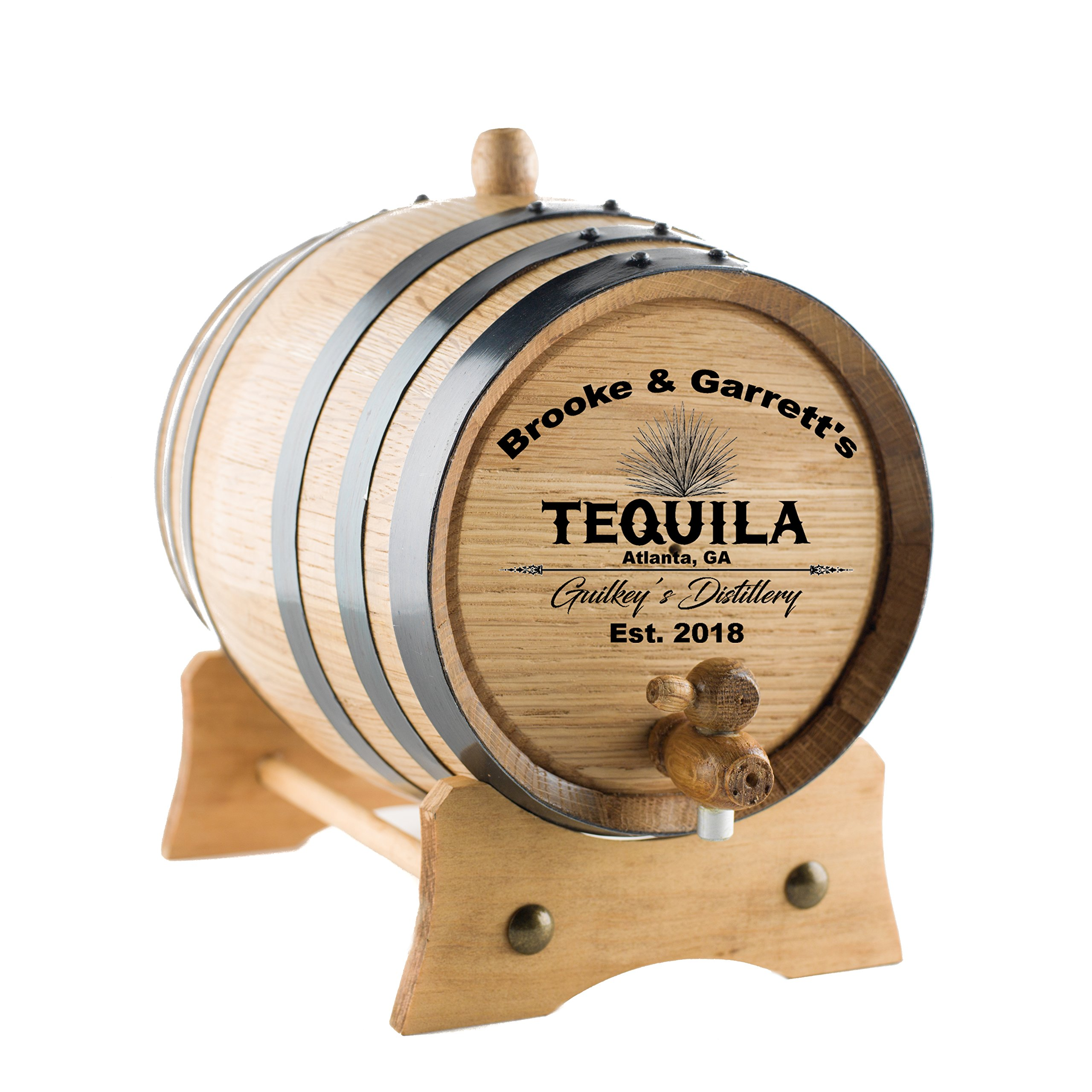 Personalized Tequila Oak Barrel | Custom Engraved American White Oak Aging Barrel - Age your own Tequila, Whiskey, Rum, Wine, Beer, Vinegar. (2 Liters)