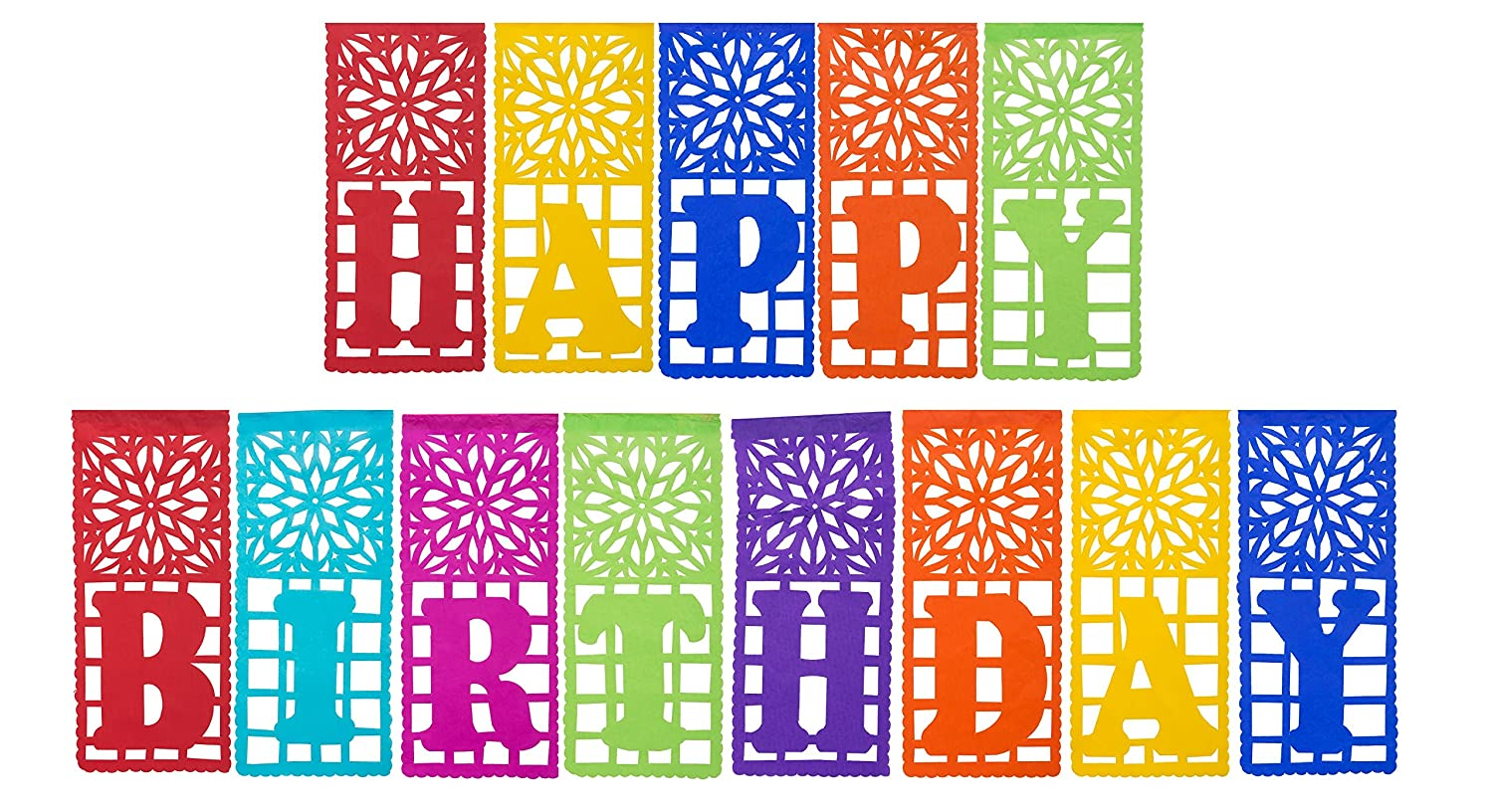 Mexican Plastic Papel Picado Banner HAPPY BIRTHDAY - Ideal for Mexican Theme Birthday Celebrations - Design and Colors as Pictured By Paper Full of Wishes