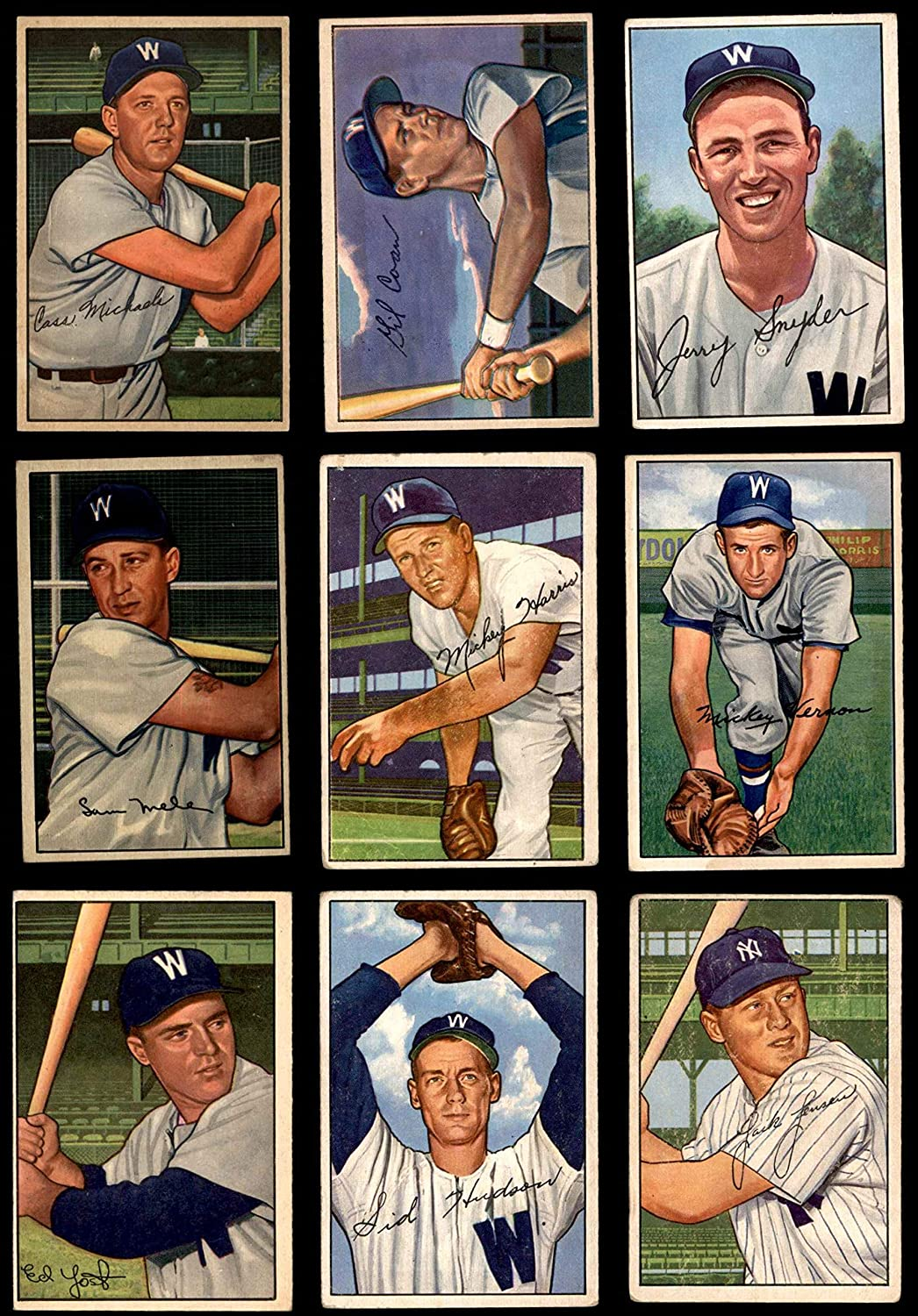 1952 Bowman Washington Senators Near Team Set Washington Senators (Baseball Set) Dean's Cards 3.5 - VG+ Senators