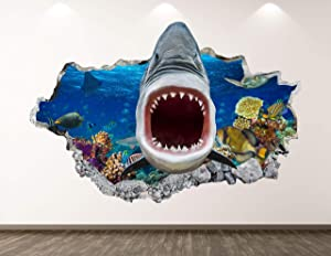 "West Mountain Wild Shark Wall Decal Art Decor 3D Smashed Animal Sticker Poster Kids Room Mural Custom Gift BL218 (22"" W x 14"" H)"