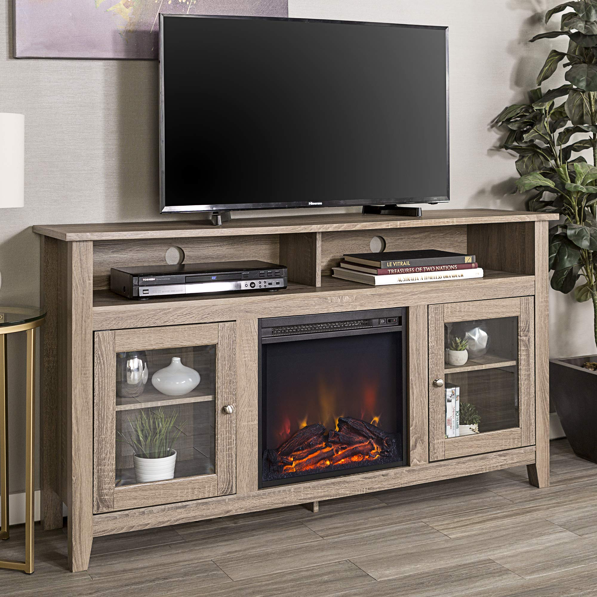 WE Furniture 58'' Driftwood Highboy Fireplace Modern Media TV Stand Console for Flat Screen TV's Up to 65'' Entertainment Center by WE Furniture