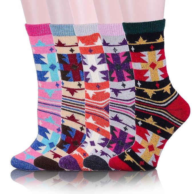 3c4e1d01 ProEtrade Women Wool Thick Winter Socks 5 Pairs Warm Crew Socks (Art) Art  Free