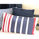 Blue Alcove Stripes Dhurrie Cushion Cover with Filler - Navy and Red (SGCC-21-1)