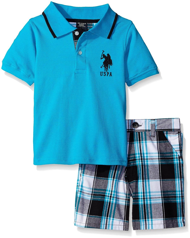Polo Assn U.S Boys 2 Piece Big Pony Solid Pique Polo Shirt and Plaid Short