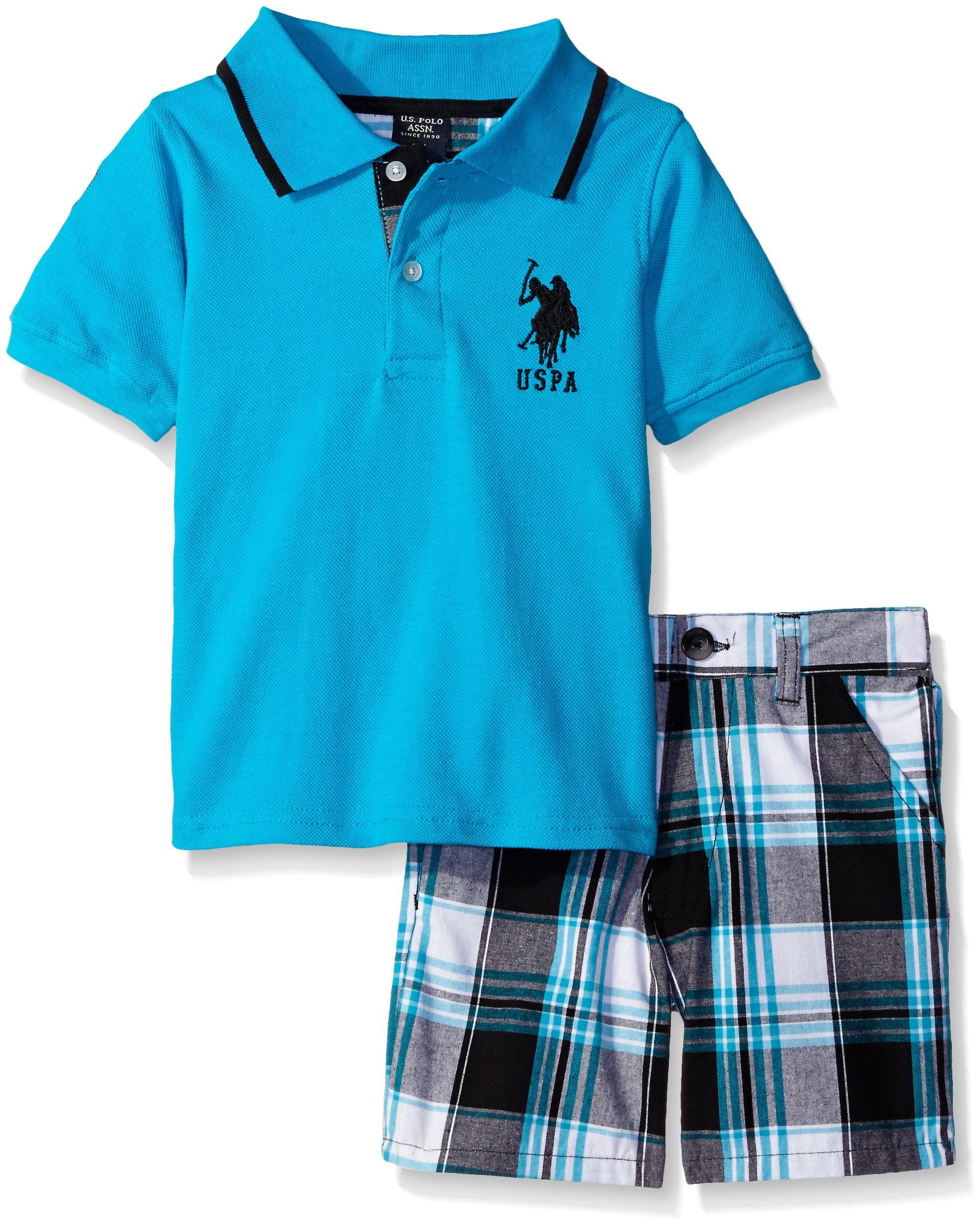 U.S. Polo Assn. Big Boys 2 Piece Big Pony Solid Pique Polo Shirt and Plaid Short, Neon Turquoise, 8