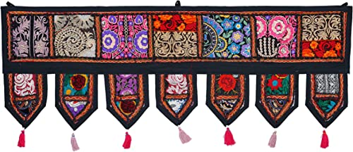 ANJANIYA – Indian Cotton Bohemian Ethnic Vintage Patchwork Door Topper Valances Window Valances Wall Hanging Boho Home Decor Hand Embroidered Toran Hippie Living Room Decor 38×13 inch Black