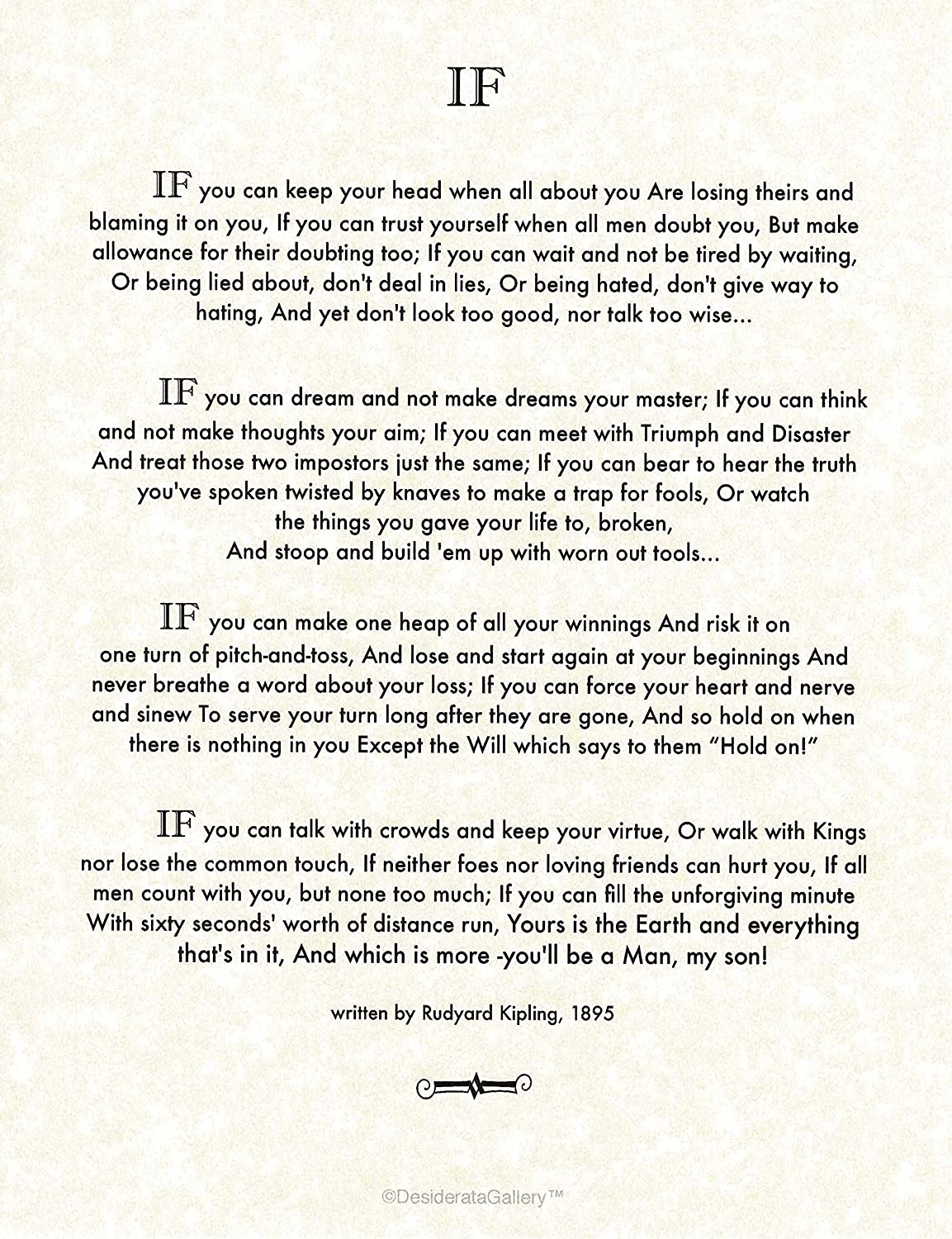 If Poem By Rudyard Kipling In 1895 Author Of The Jungle Book 8 5x11 22x28 Cm Fine Parchment Amazon Ca Home Kitchen It was created as an educational model, offering instruction on the virtues and characteristics of a model public figure. if poem by rudyard kipling in 1895
