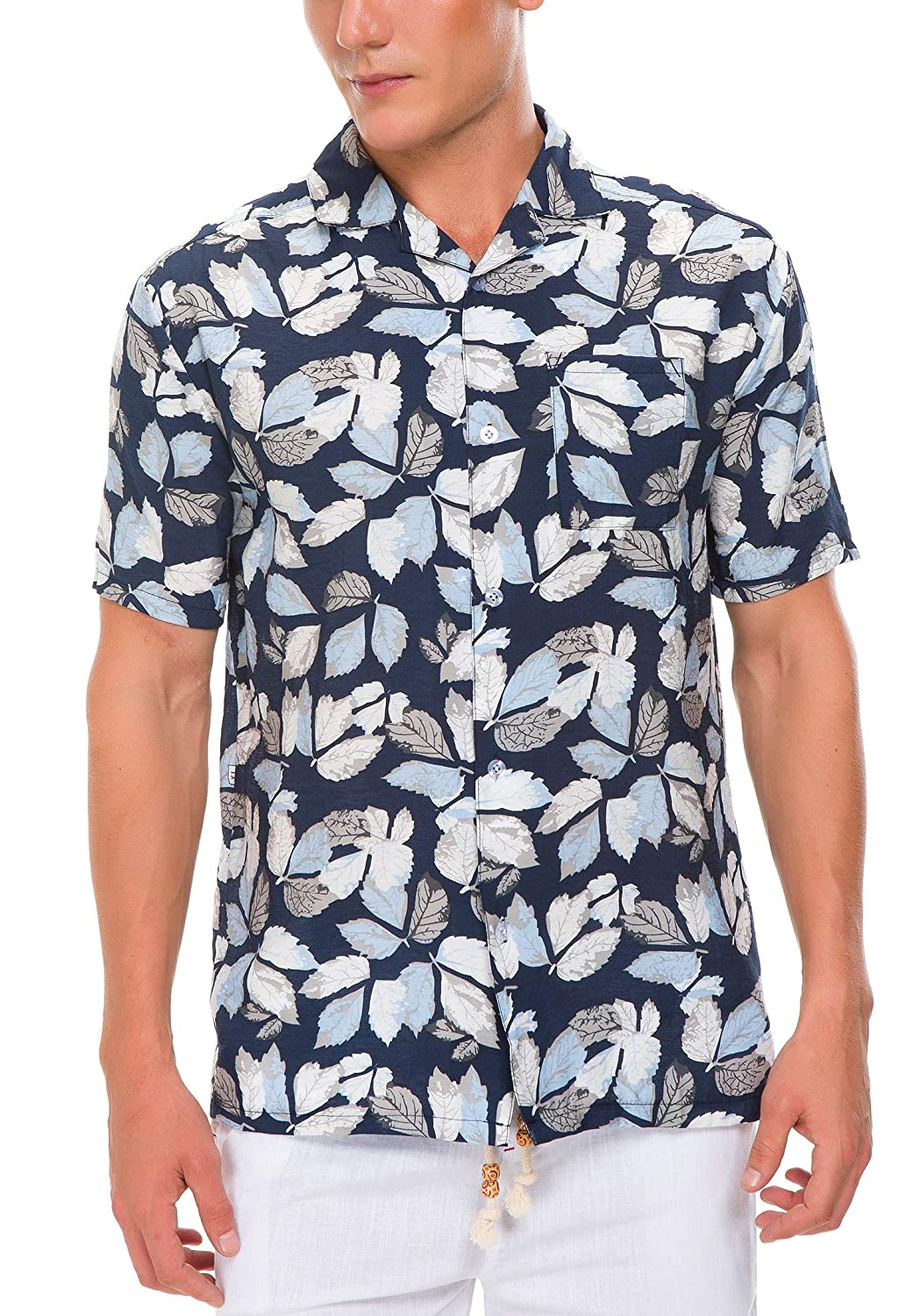 121329c115a Janmid Men's Flower Casual Button Down Short Sleeve Shirt at Amazon Men's  Clothing store
