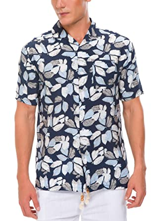 75cd4c994 Janmid Men's Floral Print Cotton Tropical Hawaiian Shirt Black Blueleaf S