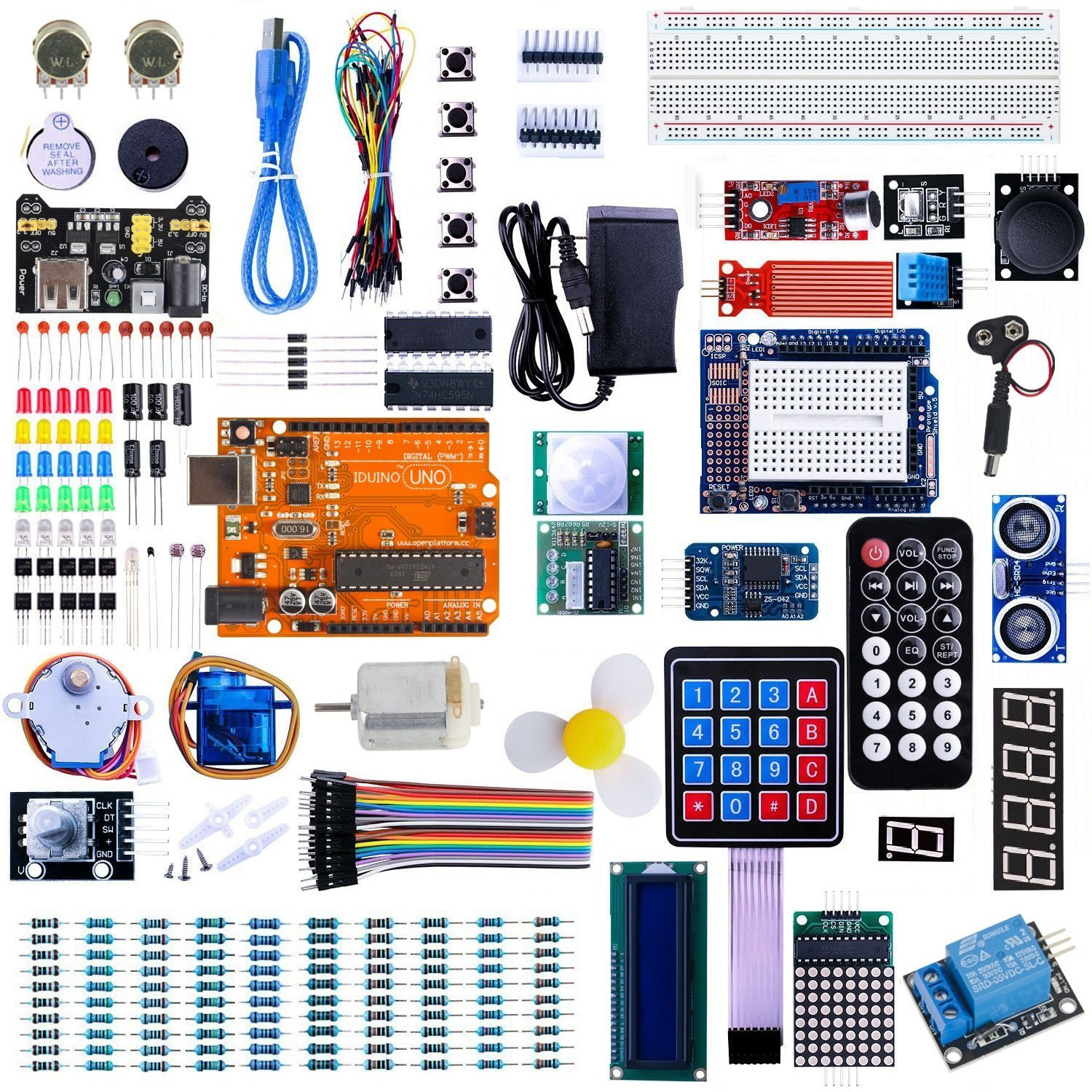 Iduino Uno Starter Kit For Arduino Project Board Kits W High Current Relay 33 Lessons Tutorial Over 200 Pcs Electronic Engineering Accessories Toys Games