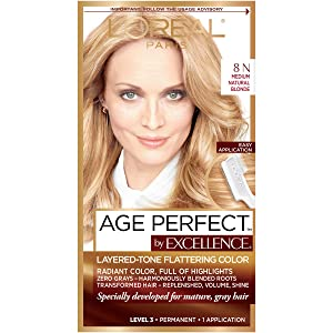 L'Oreal Paris ExcellenceAge Perfect Layered Tone Flattering Color, 8N Medium Natural Blonde Set (Packaging May Vary)