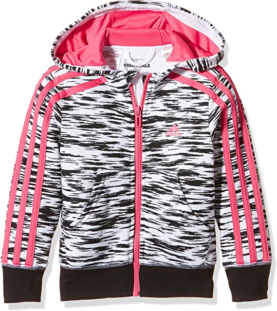 adidas Mädchen Essentials 3 Streifen Kapuzenjacke: