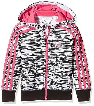 adidas Mädchen Essentials 3-Streifen Kapuzenjacke, Weiß Schwarz Pink, 104 235731bdc0