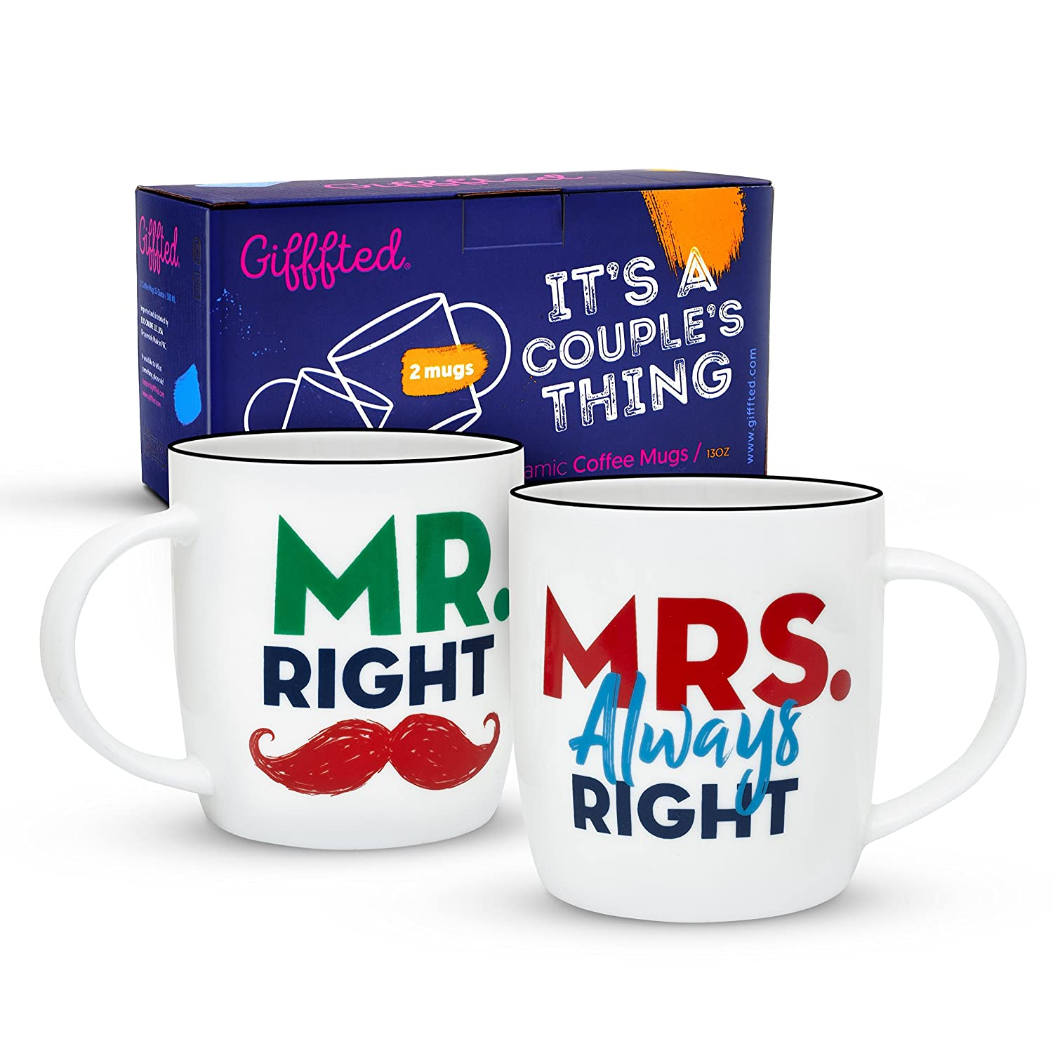 Gifffted Mr Right and Mrs Always Right Coffee Mugs For Couple, Wedding Anniversary Engagement Gifts For Couples, Bride Groom, Husband and Wife, Parents, Him and Her, 380 ML, Set of 2 HS mugs for couples