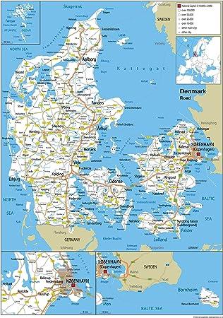 dänemark auf der karte Dänemark Road Wall Map – Papier laminiert [GA] A1 Size 59.4 x 84.1