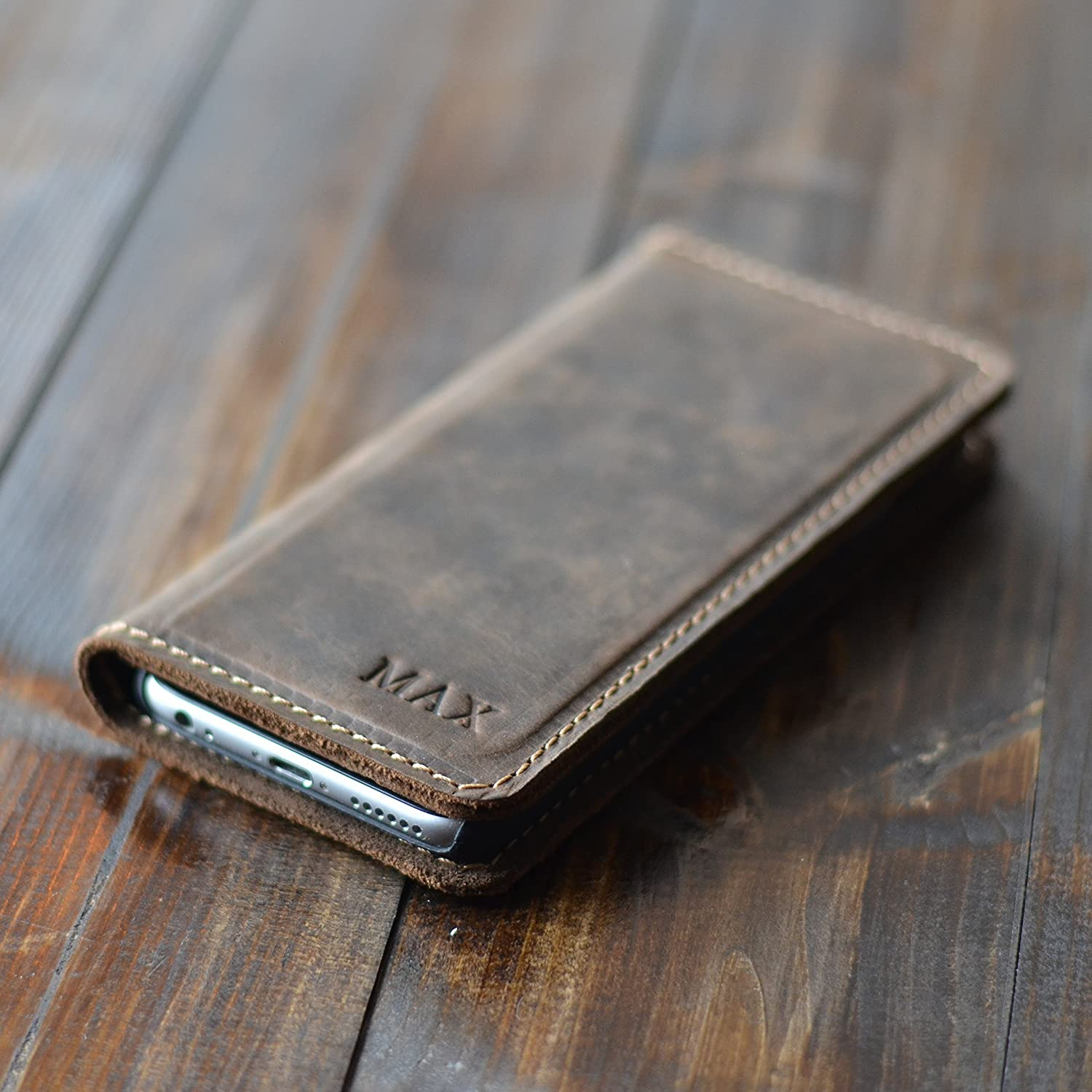 Pegai Personalized Distressed Leather iPhone Wallet - McLean Chestnut Brown
