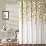 "Lush Decor Weeping Flower Shower Curtain, 72"" x 72"", Yellow/Gray"