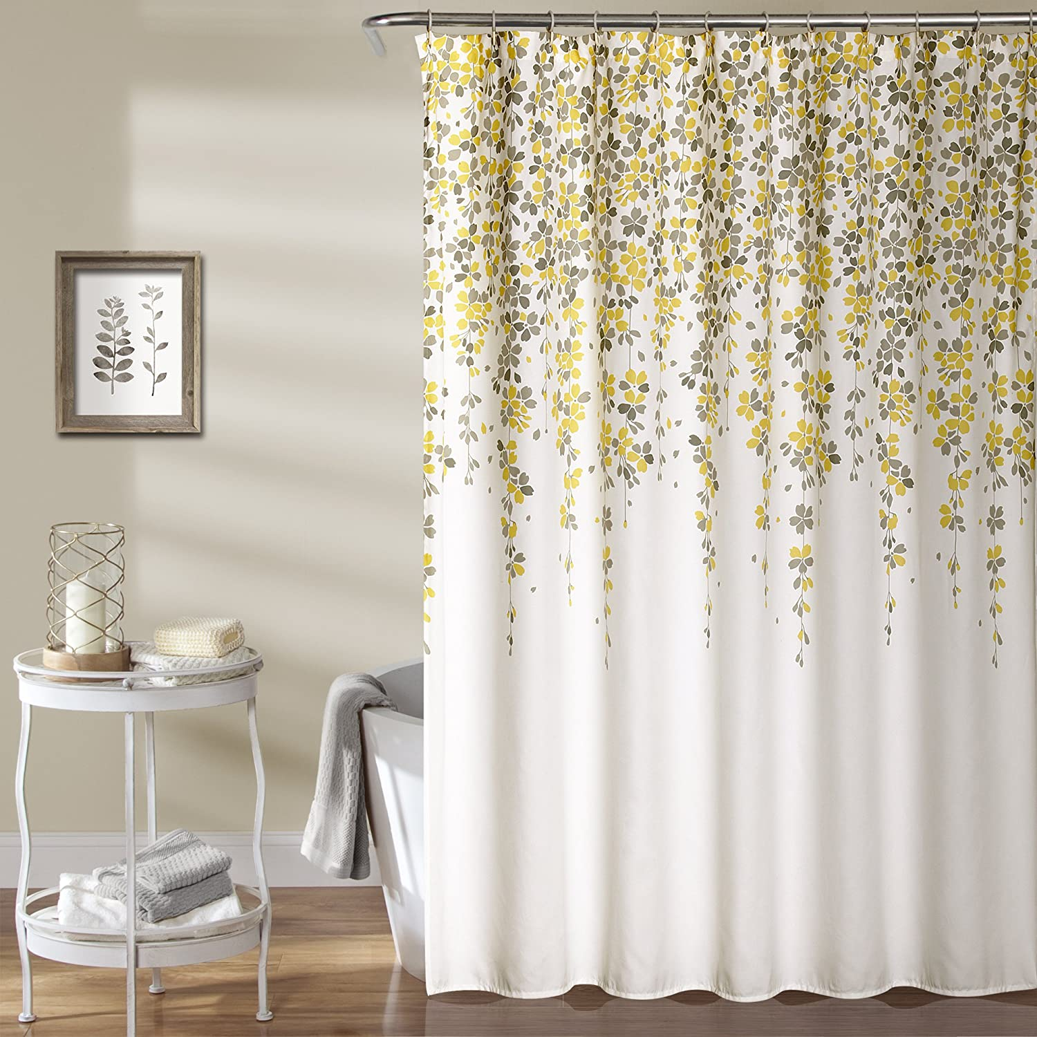 Lush Decor Weeping Flower Shower Curtain, 72 x 72, Yellow/Gray 72 x 72 Triangle Home Fashions 16T000943