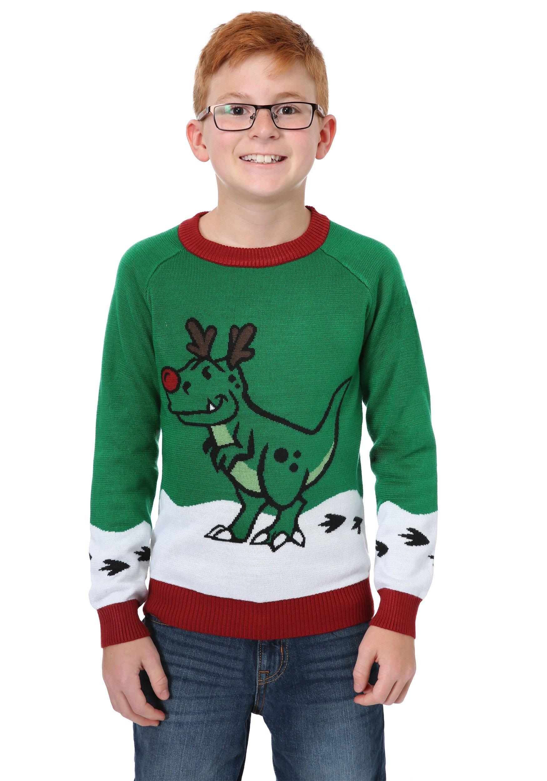 Boys Reindeer Dinosaur Ugly Christmas Sweater 4T
