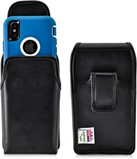 product image for Turtleback Holster Compatible with iPhone 11 Pro, XS & X w/OB Defender case Black Vertical Belt Case Leather Pouch with Executive Belt Clip Made in USA