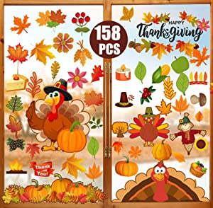 Funnlot 158PCS Thanksgiving Window Clings, Fall Window Clings Fall Window Decor for Offices Autumn Leaves Turkey Window Clings Home School Office Thanksgiving Party Decorations Supplies