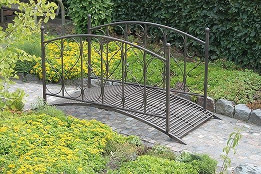 Jardín Puente con barandilla de metal, aspecto oxidado: Amazon.es: Jardín