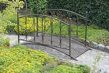 Gartenbrucke Mit Gelander Aus Metall Rost Optik Amazon De Garten