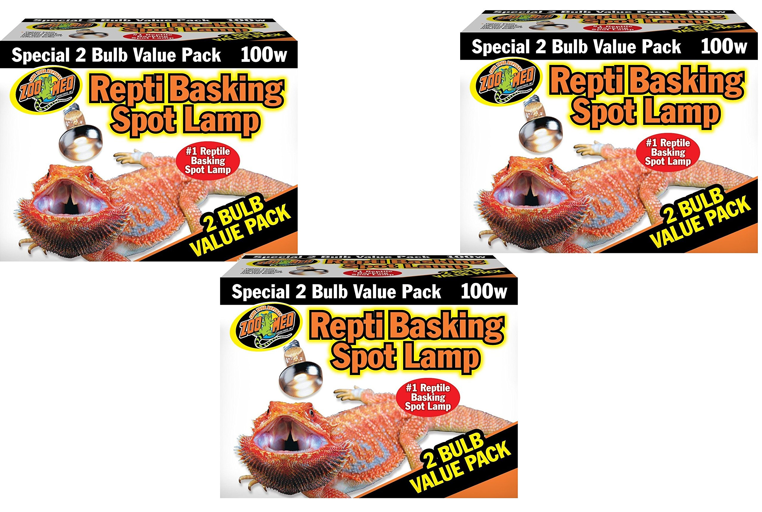 Zoo Med Basking Spot Lamps 100 Watt - 6 Total Bulbs (3 Packs with 2 per Pack)