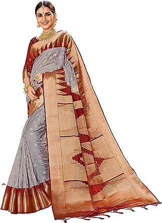 Amazon Com Sarees For Women Linen Banarasi Art Silk L Indian Rakhi Wedding Diwali Gift Sari With Unstitched Blouse Gray Clothing