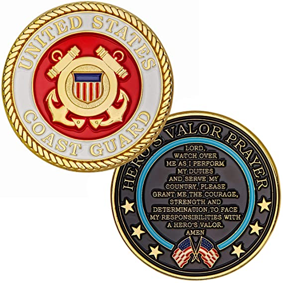 Hero's Valor United States Coast Guard Challenge Coin Prayer 1 Pack (Single Coin) by Hero's Valor