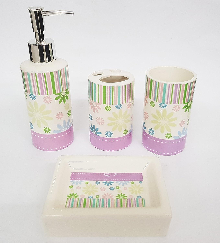takestop/® Set 4 Pezzi Bagno Strisce Lilla Floreale ESY/_998 in Ceramica Design Dispenser Sapone Porta SAPONETTA Bicchiere Porta SPAZZOLINI