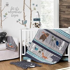 Levtex Baby Play Day Teal Plaid 5-Piece Crib Bedding Set, Navy/Green/Grey/Brown/White