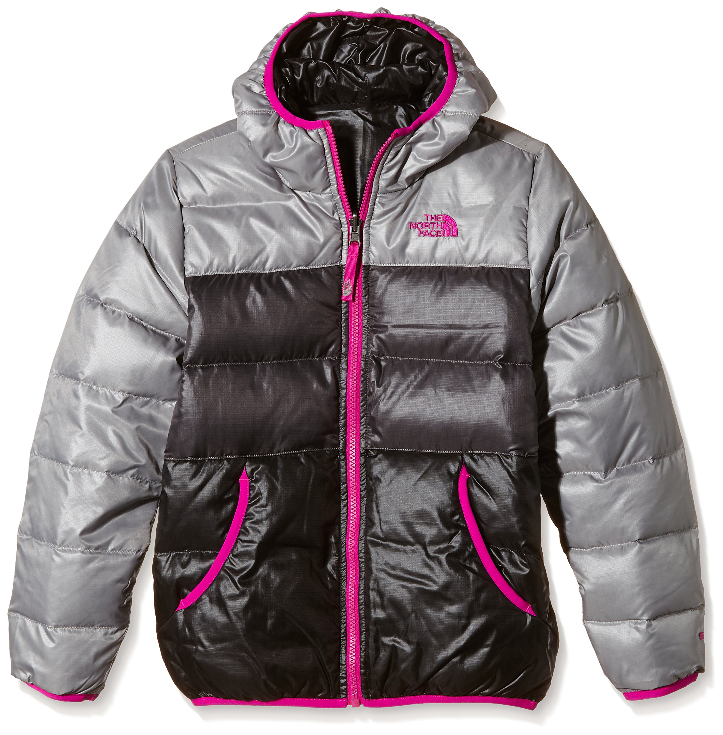 The North Face Kids Girl's Reversible Moondoggy Jacket (Little Kids/Big Kids) Metallic Silver Outerwear XL (18 Big Kids) by The North Face