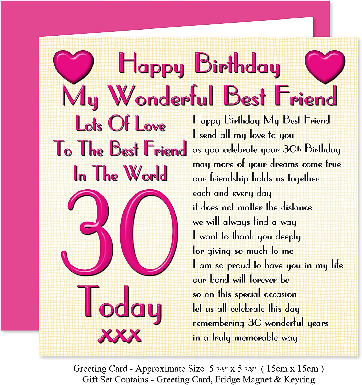 Best Friend 30th Happy Birthday Gift Set Card Keyring Fridge Magnet Present Lots Of Love To The Best Friend In The World 30 Today Amazon Co Uk Office Products
