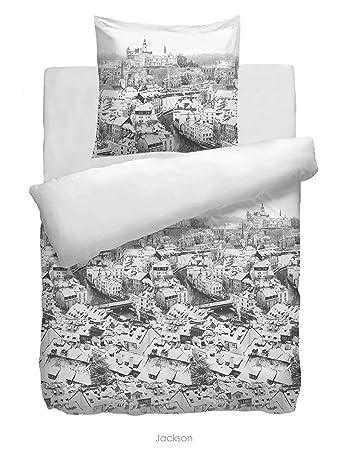 Hnl Flanell Bettwäsche Jackson Weiß 155x220 Amazonde Küche Haushalt