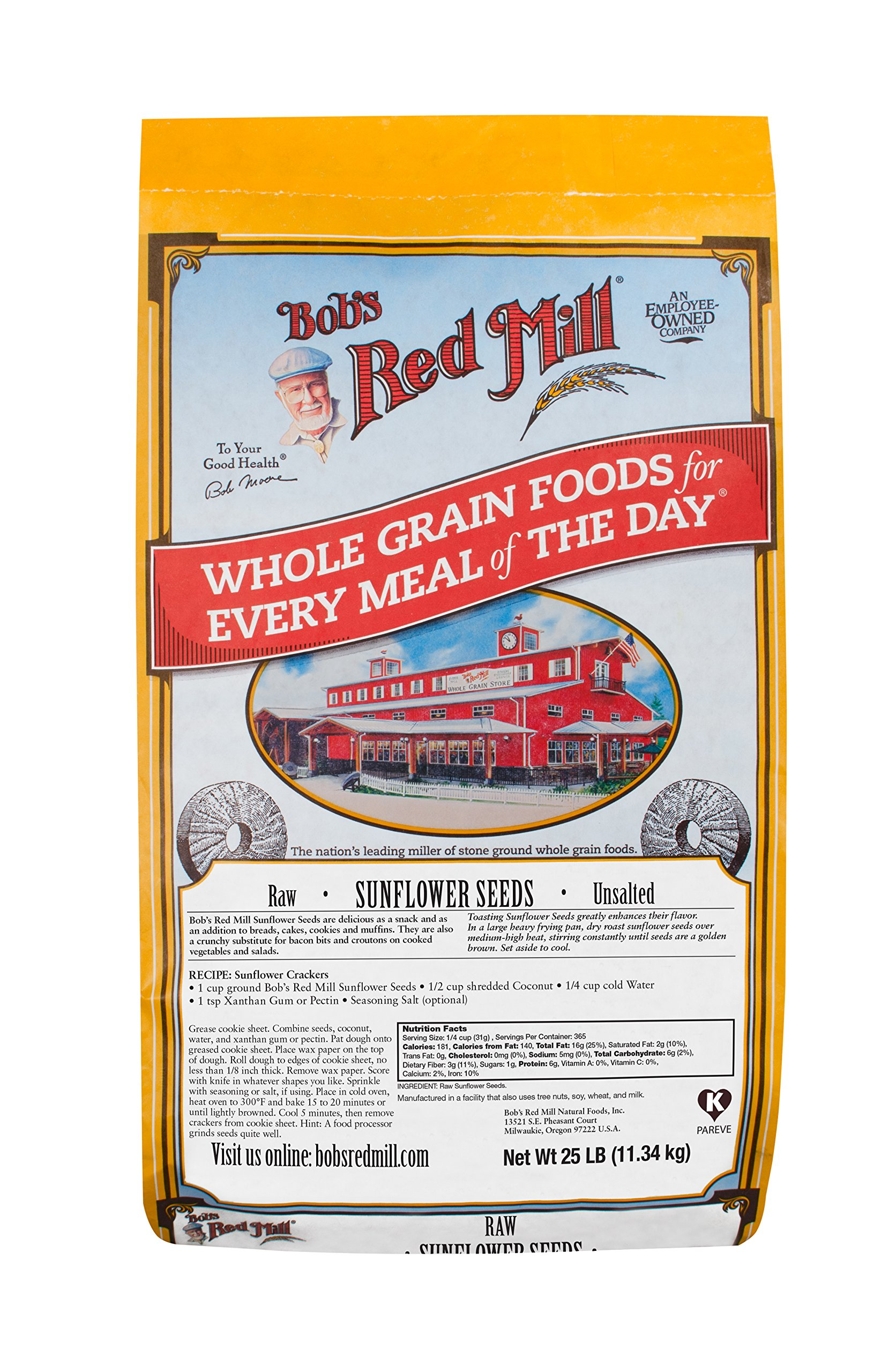 Bob's Red Mill Kernels Only Raw Shelled Sunflower Seeds, 25 Pound