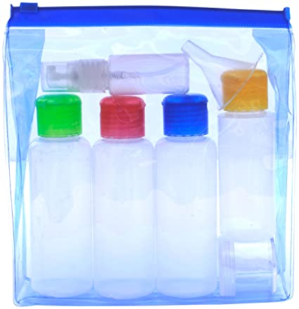 ef9f647b8ff7 Travel Bottles Set Airport Security 100 ml Liquid Containers. Coloured  Lids. Leak Proof. Soft Plastic - Squeezable/Refillable. Clear See-Through  ...