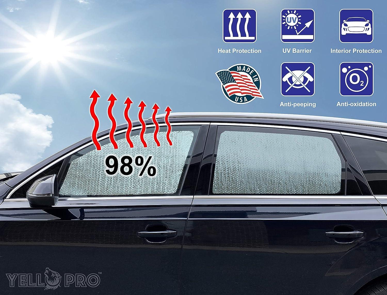 4Dr 4Door YelloPro Auto Side Window Front Seat Sunshade Custom Fit for 2010 2011 2012 2013 2014 2015 2016 2017 2018 2019 2020 Dodge RAM 2500 3500 QuadCab CrewCab MegaCab 2PCS