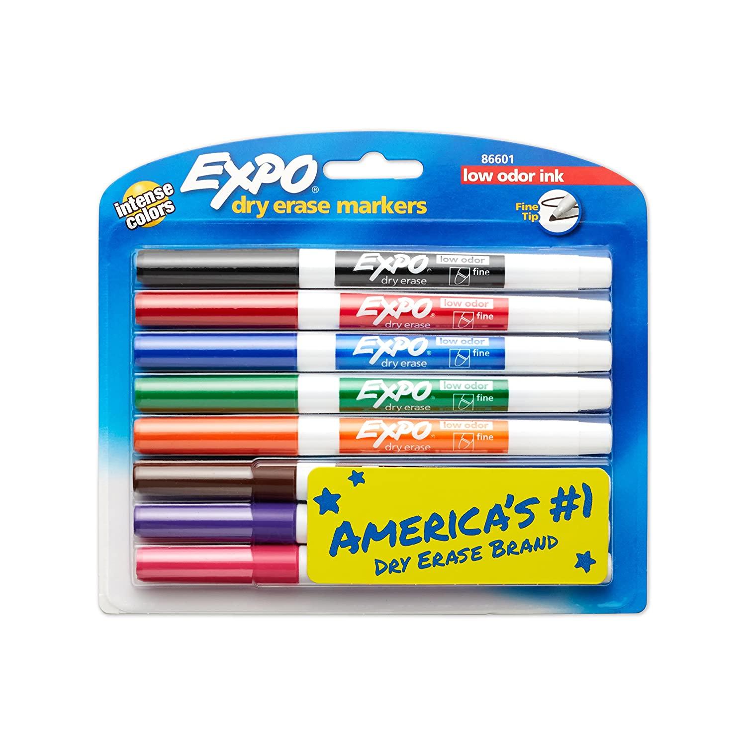 Expo Low Odour Dry Erase Pen-Style Markers, 8 Coloured