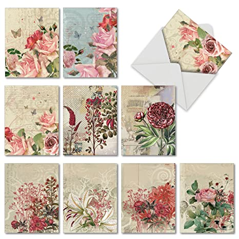 10 Assorted Botanical Collage Blank Note Cards 4 x 5 12 inch - Set of 10  Blank Greeting Cards Featuring Floral Designs for Any Occasion M2988OCB -