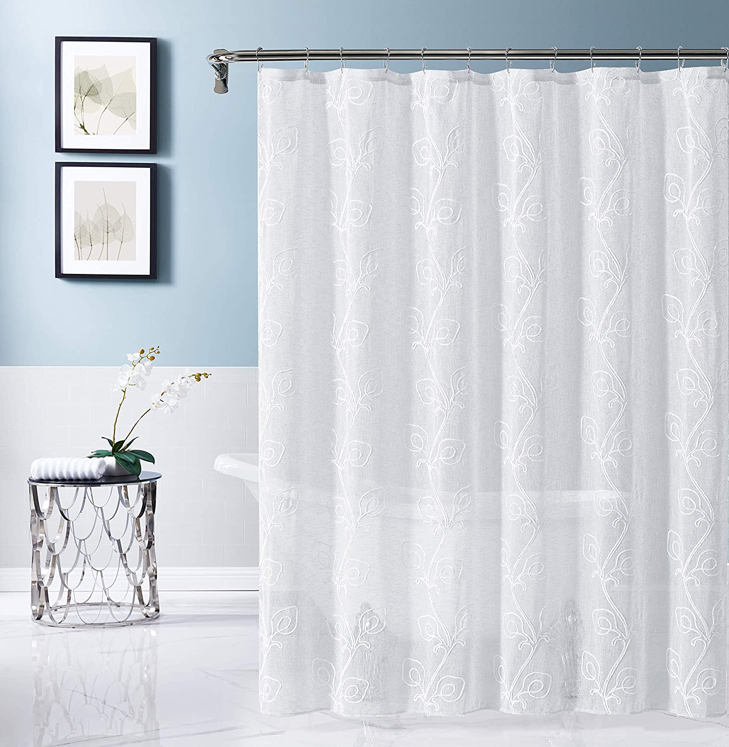 Dainty Home Stella Embroidered Fabric Shower Curtain, White/White