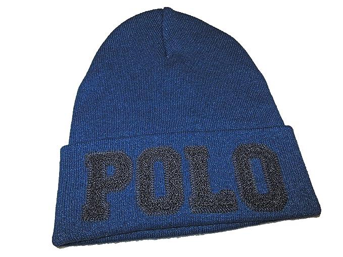 76839567d3b87 RALPH LAUREN Polo Mens Logo Embroidery Fold Over Beanie Knit Cap (Indigo)  at Amazon Men s Clothing store