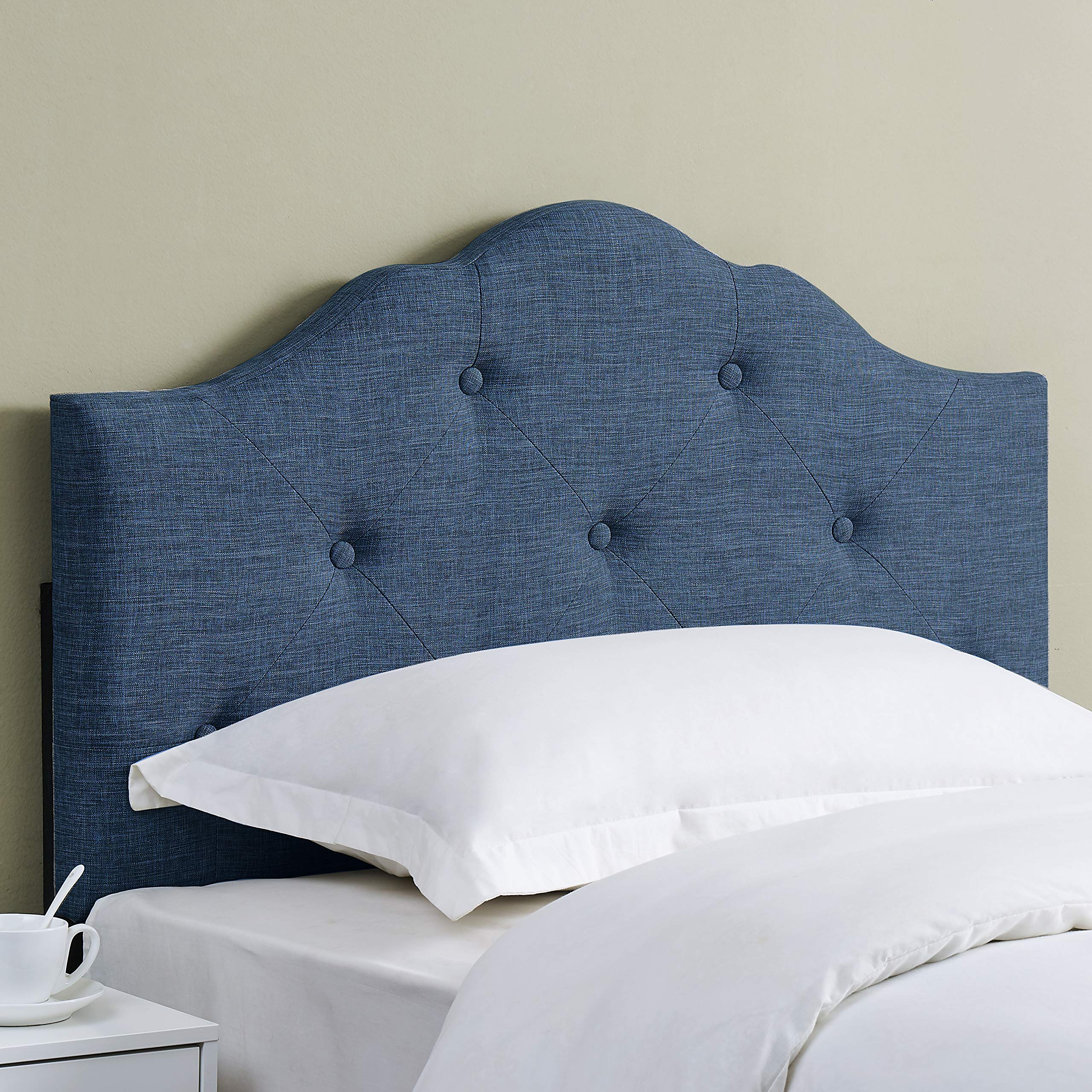 Mainstays Minimal Tufted Rounded Headboard, Multiple Sizes and Colors, Twin, Blue