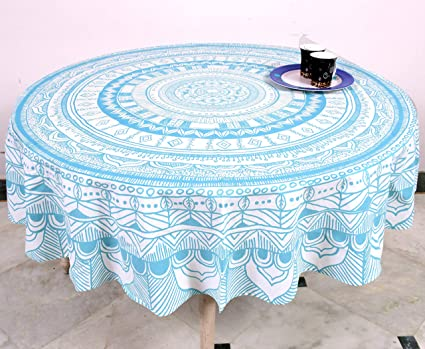 Amazon.in & Miyanbazaz Textiles Traditional 100% Cotton Round Table Cover / Dininig Tablecloths C Green 65 Inch