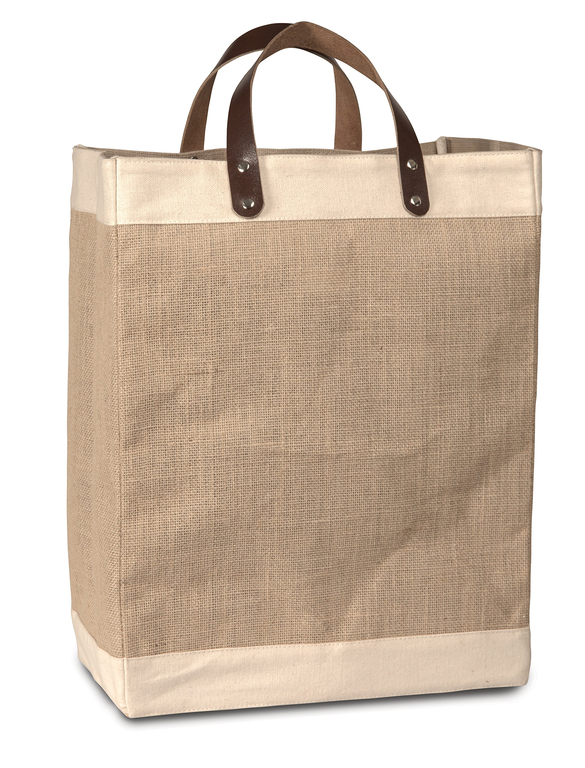 Pack of 50 -Eco-Friendly Jute Tote Bag with Cotton Accents & Leather Handles 13''W x 17''H x 8'' Gusset- Holiday Gift Ideas by CarryGreen