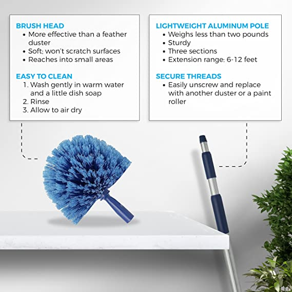 P/értiga Telesc/ópica para Limpieza de Cristales Alimentada por Agua Extensible hasta 3.6-11M,para la Limpieza de Paneles Fotovoltaicos,Ventanas de Camiones,12FT//3.6M