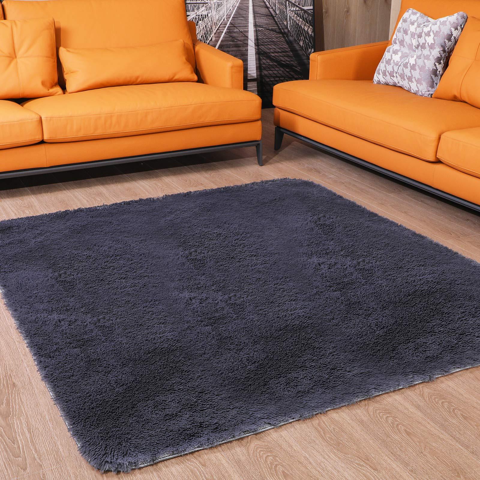 Soft Shag Rug Comfy Grey Shaggy Rug for Bedroom Fluffy Area Rugs