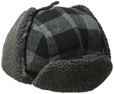 68303a5dfc57fe Levi's Men's Buffalo Plaid Trapper Hat with Sherpa Lining, Black/Grey,  Small/
