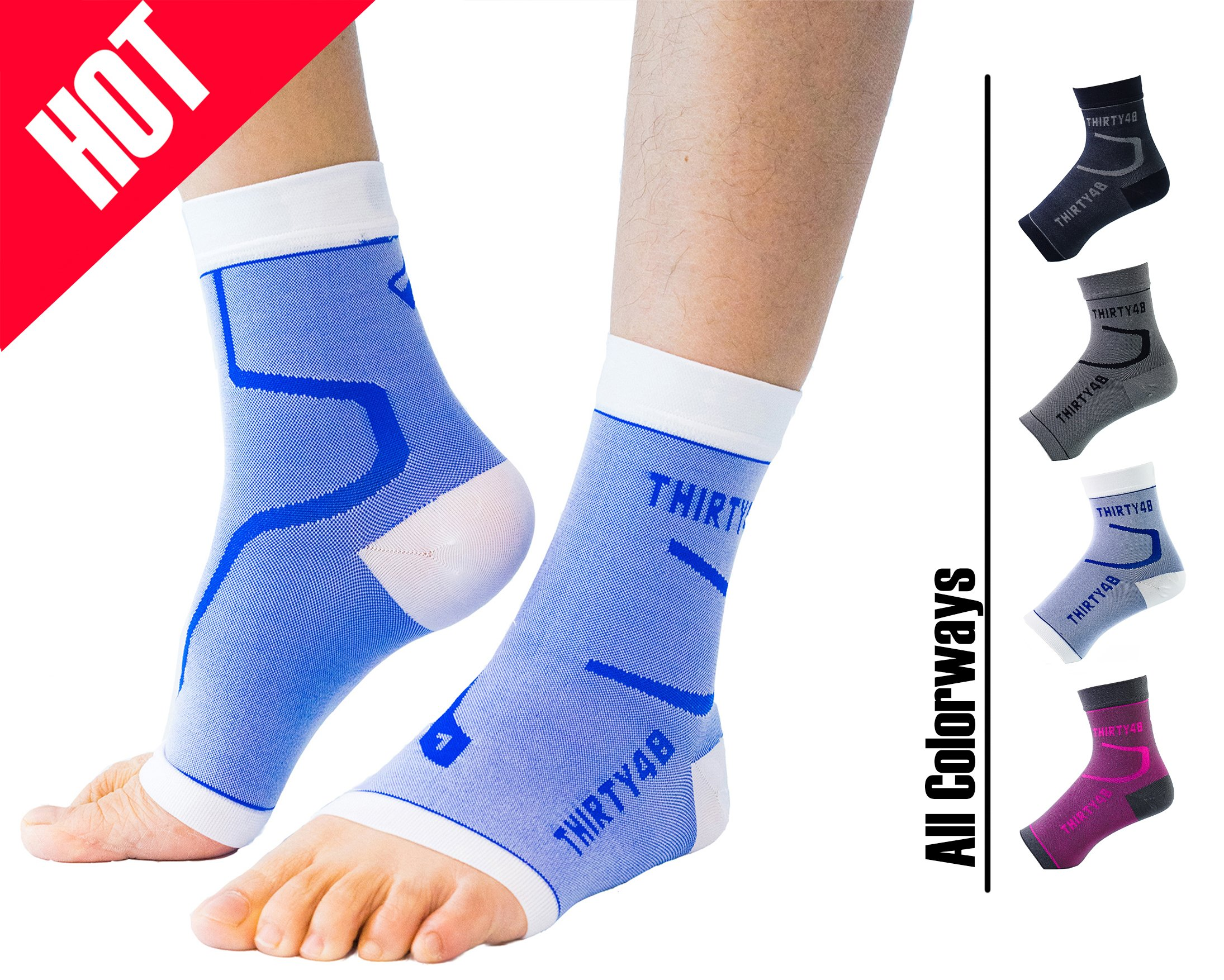 Thirty48 Plantar Fasciitis Socks, 20-30 mmHg Foot Compression Sleeves for Ankle/Heel Support, Increasing Blood Circulation, Relieving Arch Pain, Reducing Foot Swelling by Thirty48